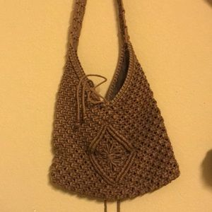 Brown Knitted/Crochet Shoulder Bag